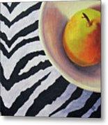 Pear On Zebra Metal Print