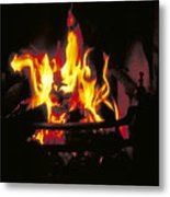 Peat Fire In Ireland Metal Print