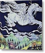 Pegasus Flying Over Stream Metal Print