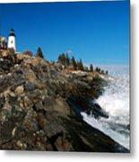 Pemaquid Point Lighthouse - Seascape Landscape Rocky Coast Maine Metal Print by Jon Holiday