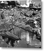 Pemaquid Point Lighthouse Maine Black And White Metal Print