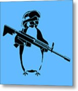 Penguin Soldier Metal Print by Pixel Chimp