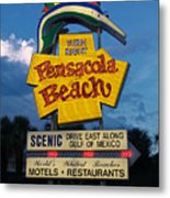 Pensacola Beach Sign At Sunset Metal Print