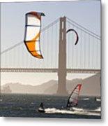 People Wind Surfing And Kitebording Metal Print