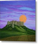 Perigee Moon Rising Above Crow Butte Metal Print