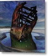 Peter Iredale Shipwreck Under Starry Night Sky Metal Print