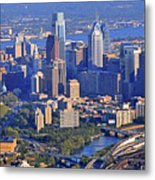 Philadelphia Museum Of Art And City Skyline Aerial Panorama Metal Print by Duncan Pearson