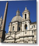 Piazza Navona. Navona Place. Church St. Angnese In Agona And Egyptian Obelisk. Rome Metal Print