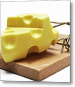 Piece Of Cheese In Mouse Trap Metal Print by Sami Sarkis
