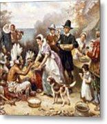 Pilgrims: Thanksgiving, 1621 Metal Print