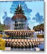 Pineapple Fountain Metal Print