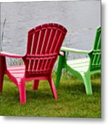 Pink And Green Lounging Chairs By The Lake Metal Print by Louise Heusinkveld