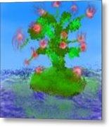 Pink Birds Ongreen Island Metal Print