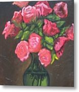 Pink Roses And Vase Metal Print