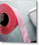 Pink Toilet Roll On Holder In Bathroom Metal Print