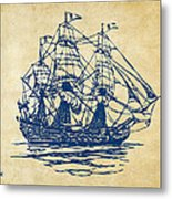 Pirate Ship Artwork - Vintage Metal Print by Nikki Marie Smith