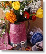 Pitcher Of Flowers Still Life Metal Print by Garry Gay