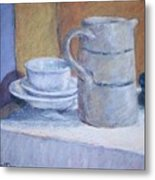 Pitcher With Bowl And Plate Metal Print