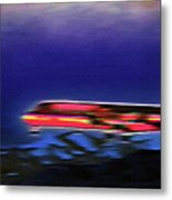 Plane Landing At Airport - The Red Eye Flight Metal Print