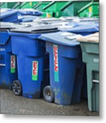 Plastic Garbage Bins Metal Print by Don Mason
