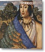 Pocahontas Wears A Turkey-feather Robe Metal Print