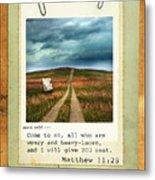 Polaroid On Weathered Wood With Bible Verse Metal Print