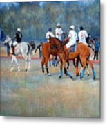 Polo Horses Painting Metal Print