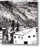 Pontresina Black And White Metal Print