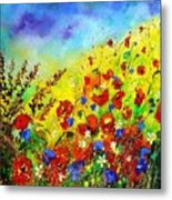 Poppies And Blue Bells Metal Print