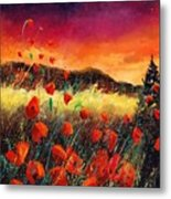 Poppies At Sunset 67 Metal Print