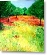 Poppies In The Almond Grove Metal Print