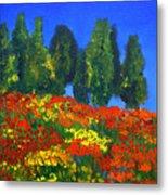 Poppies Landscape Metal Print