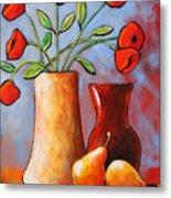 Poppies N Pears Metal Print
