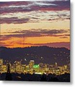 Portland Oregon City Skyline Sunset Panorama Metal Print