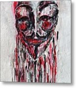Portrait Melting Of Anonymous Mask Chan Wikileak Occupy Guy Fawkes Sopa Mpaa Pirate Lulz Reddit Metal Print