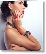 Portrait Of A Beautiful Woman Wearing Jewellery Metal Print