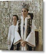 Portrait Of Queen Farah Pahlavi Dressed Metal Print