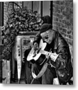 Post Alley Musician In Black And White Metal Print
