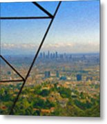 Power Lines Los Angeles Skyline Metal Print