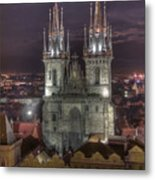 Prague At Night Metal Print