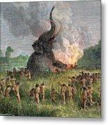 Prehistoric Mammoth Hunt Metal Print