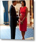 President And Michelle Obama Talk Metal Print by Everett