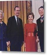 President George Bush Presents Metal Print by Everett
