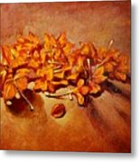 Pretty Little Orange Flowers - Kankaambaram Metal Print