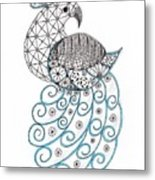 Pretty Peacock Metal Print by Paula Dickerhoff