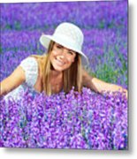 Pretty Woman On Lavender Field Metal Print