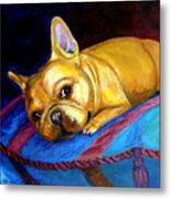 Princess And Her Pillow French Bulldog Metal Print