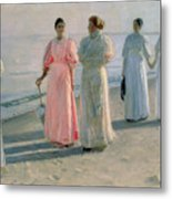 Promenade On The Beach Metal Print by Michael Peter Ancher