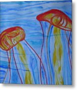Psychedelic Lion's Mane Jellyfish Metal Print