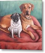 Pug And Rhodesian Ridgeback Metal Print
